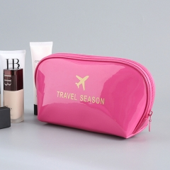 Women Fashion multifunctional PU Waterproof  home travel Hand-held cosmetic makeup package bag Rose red 19*13*8cm