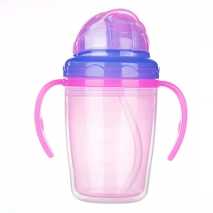 Cute Child PP Double layer heat insulation Silicone baby water drinking cup bottle with handle Green 230ml