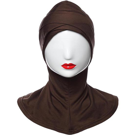 Muslim Modal cotton Full Cover Under Scarf Hijab Islamic Neck Cover Head  Wear Inner Cap Coffee ebe0290f9fea