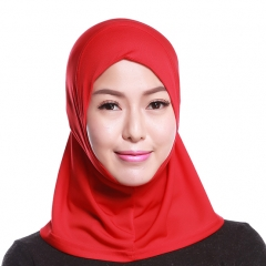 Mini Scarf Crystal linen full cover Stretch Elastic Adjustable Fashion Islamic Muslim Hijab Red