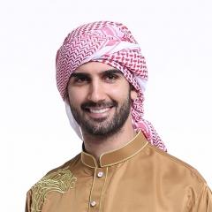 55 Inch Men Head Scarf Print Islamic Turban Head Cover Muslim hijab Chimar Al-Amira man scarves Red 140*140cm