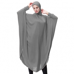 Highly elastic burqua Muslim lady Bat's-wing-sleeves Dress Two in One thobe with Hijab M Gray