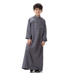 Fashion Embroidery Muslim Kids Boy Robes Long Sleeves Stand collar Thobe clothes Dark Gray M