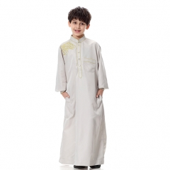 Fashion Embroidery Muslim Kids Boy Robes Long Sleeves Stand collar Thobe clothes Silvery  Gray XL