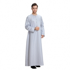 Traditional Muslim Round collar solid color Long sleeves Arab Men Thobe Thawb Caftan Clothes Dress Gray M