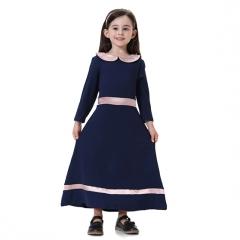 Fashion Highly elastic Kids Muslim girl dress Robes Long Sleeves clothes Abaya 90cm Navy Blue