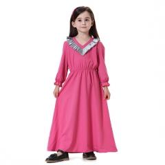 Kids Muslim girl dress Robes Long Sleeves clothes Abaya 140cm Rose Red