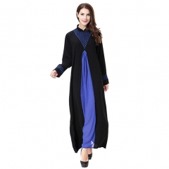 Wool peach Woman Muslim Computer Embroidery Lady dresses Robes Long Sleeves clothes Abaya XXL Blue