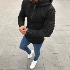 Pure color zipper, hooded men's jacket, European and American men's jacket. Black M