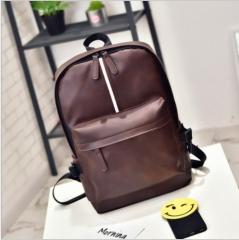 2017 leisure shoulder bag, men's backpack, Korean version, PU skin, large capacity travelling bag. Brown one size