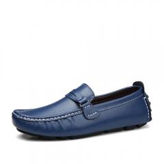 New size men's cowhide bean shoes men's breathable lazy shoes 2018 blue 40