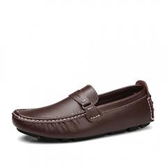 New size men's cowhide bean shoes men's breathable lazy shoes 2018 brown 42