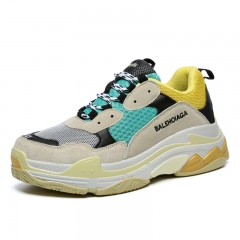 Spring and summer man ins shoe tide shoe big size net face shoe heighten lovers' shoes father shoes Gray green 46