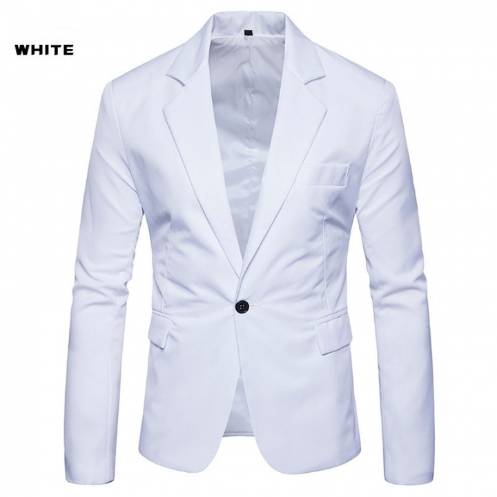 New men s large size west eight color solid color single row a button  leisure suit white 80990d05fee6