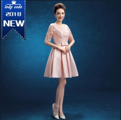 New bridesmaid dress lace short sleeve wedding dress s pink a