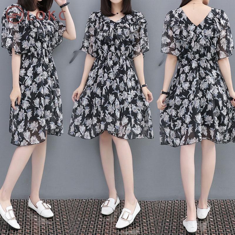 summer dress new printed slim skirt thin collar v-neck skirt with lotus  leaf edge flowers xl  Product No  Item specifics  Seller SKU XC-01741   Brand  5c181b832