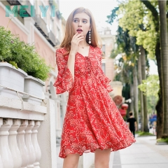Three-quarter sleeve lace dress small skirt floral V-neck fashion... red s