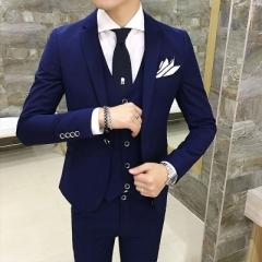 Three-piece slim men's suit Light gray three-piece S