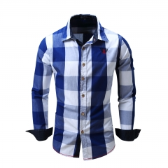 European and American men's casual long sleeved shirts, pure cotton checked jeans shirts blue M