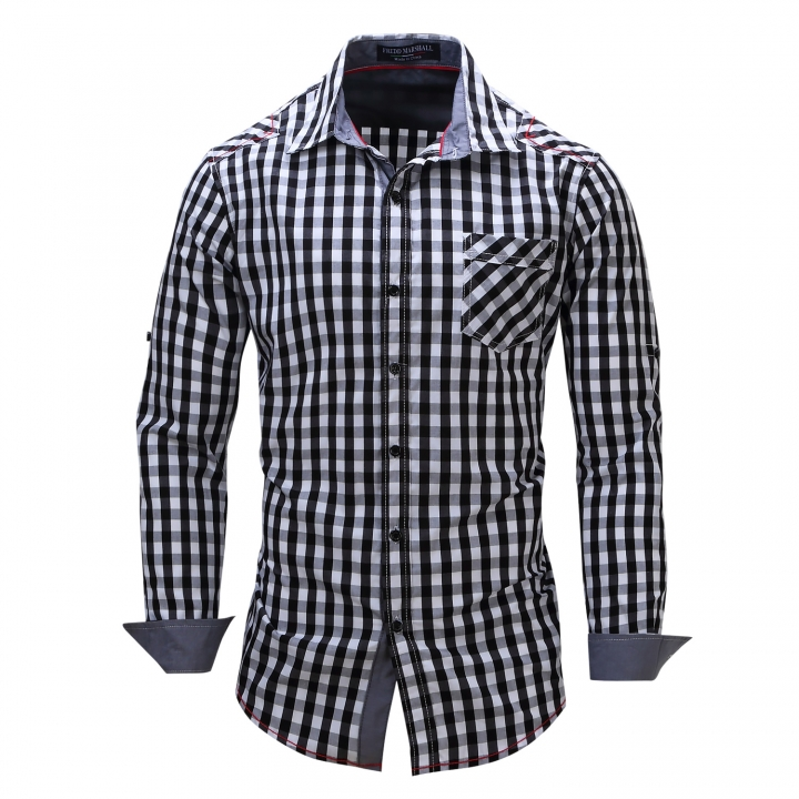 6e69f53a7 New men s cardigan long sleeved shirt pure cotton checked Jean ...