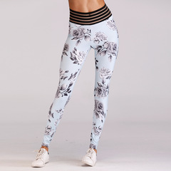 Europe and the United States hot new flower hips yoga fitness pants sexy leggings white xl