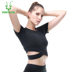 Spring and summer sports running fitness short-sleeved t-shirt quick-drying umbilical yoga clothes white xl