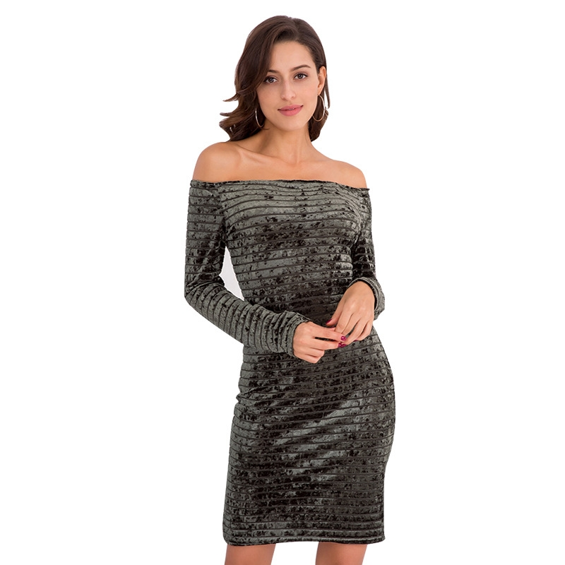 888a0967148eb Sexy dress, a long sleeved dress with gold velvet. xl black