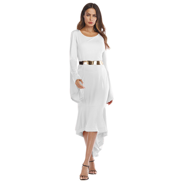 eb5d36073bc9d New women's hot comfortable dovetail long sleeve hip dress l white