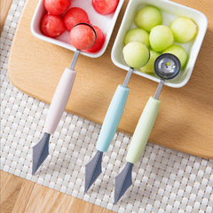 Double-headed fruit digging ball corrugated carving knife home fruit spoon carving device