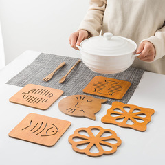 Cute creative hollow wooden coasters kitchen thickening anti-scalding insulation non-slip pot mat