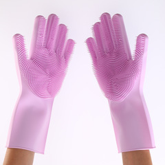 Magic silicone dishwashing gloves insulation waterproof multi-function pet bath soft silicone gloves
