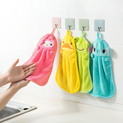 Soft coral velvet towel handkerchief kitchen hanging absorbent rag dishcloth