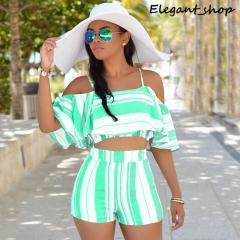 Wish ruffle stripe slim sling two suit green s