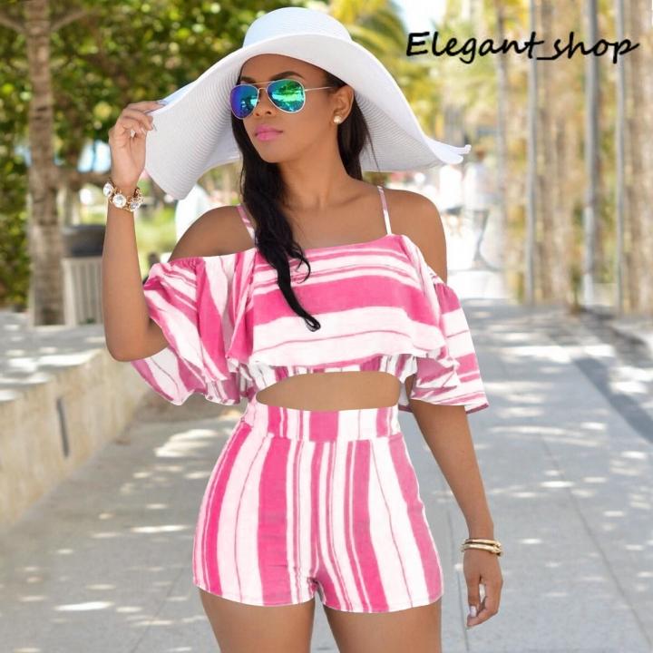 Wish ruffle stripe slim sling two suit pink s