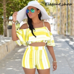 Wish ruffle stripe slim sling two suit yellow m