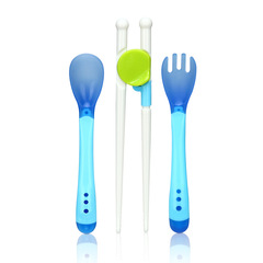 eace of mind Beibei baby soft head temperature spoon fork + combination children's tableware blue 17*2