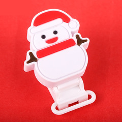 Creative Christmas Snowman Pacifier Appease Clip Christmas Snowman Silicone Clip Maternal Products red 2.5*4