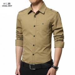 Long Sleeve Slim Fashion Casual Military Style Epaulet Men's Shirt 深蓝色    navy blue m