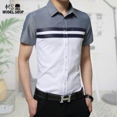 Men's short sleeved shirt  color  fashion  style  shirt  men's cotton linen white m