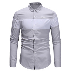 2018 new Men's long sleeve trend slim casual fashion color matching shirt Button Long Sleeved Shirt light grey xl