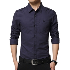 2018 Hot Men's Fashion Long-Sleeved Slim Casual Men's Shirt Military Style Men's Cotton Shirt navy blue m