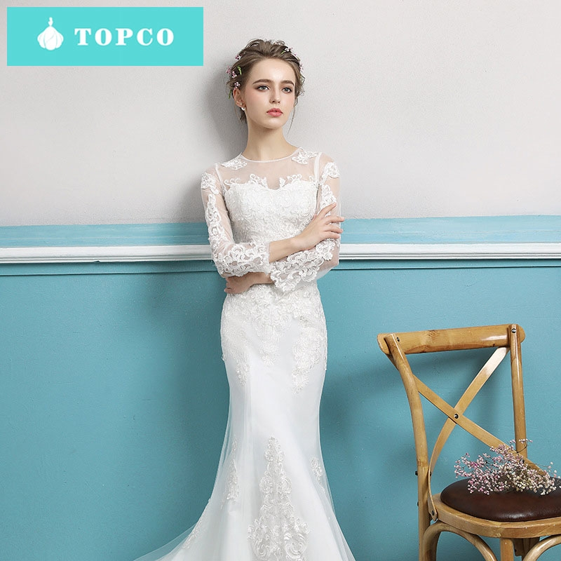 Simple Wedding Gowns In Kenya: TOPCO New Lace A-line Wedding Gowns Slim Simple Long