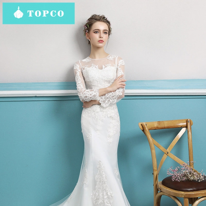1cc767237a21 TOPCO New lace A-line wedding gowns slim simple long sleeve trailing  gorgeous delicate bride