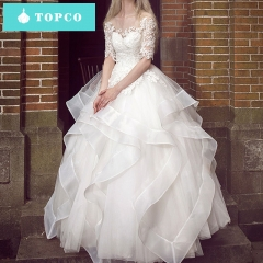Wedding dress word shoulder bridal Slim was thin and simple in the sleeve Tutu xl white