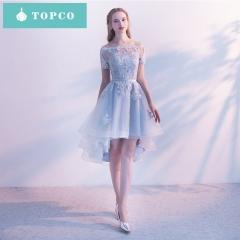 Lace  Sexy short  Evening Dresses Bride Banquet Elegant Party Prom Dresses m blue