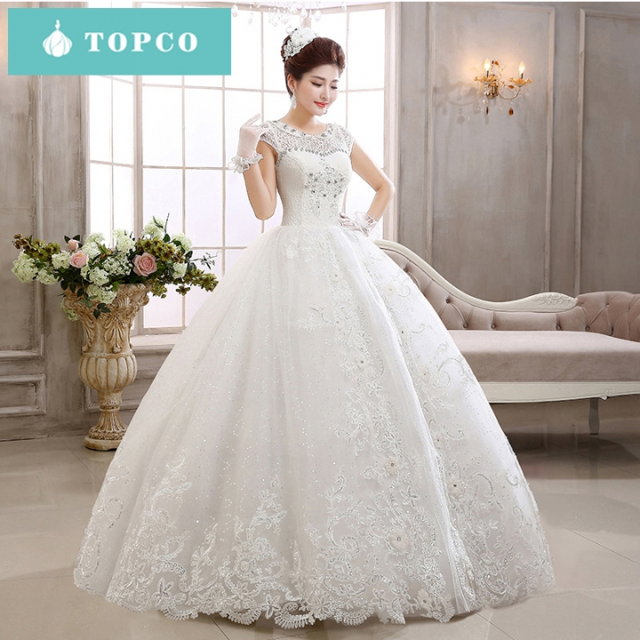 White lace short sleeve baby collar princess wedding dress xl white