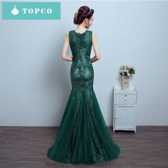 Evening dress female 2018 new banquet elegant noble dignified atmospheric fishtail women dress s green