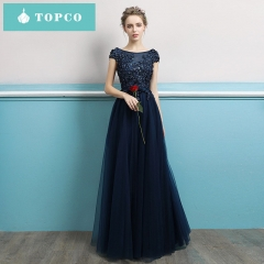New banquet host evening dress bridesmaid dress long party dress ladies dress s Navy blue