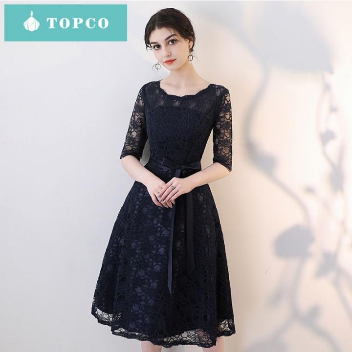 2018 New Fashionable Elegant Short Style Dinner Party Dress Evening Dress Xxl Black