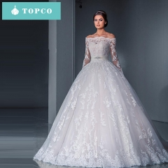 Lace Wedding Dress Gown trailing Tulle Off-Shoulder  perspective  long-sleeved Dress Bridal new s white